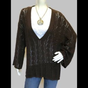 """Chico's Long Sleeve Solid Brown Sweater SIZE 2 """"L"""""""